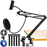 EJT Microphone Arm Stand, Multi-Accessories Adjustable Suspension Boom Scissor Mic Stand for Blue Yeti Snowball, Shure, Bm800, AT2020/2035 and Other Mics