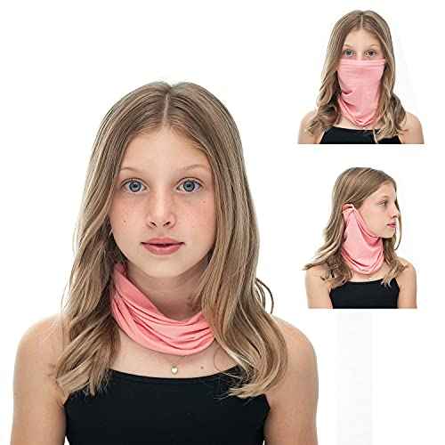 CoQau Mini Casanova Unisex Neck Gaiter and Face Mask / Covering for Kids, Sustainable Modal Neckwear, Ascot or Cravat-like Wrap w/ Antimicrobial, Ultra-Fresh Scented Technology and UV Protection, Pink