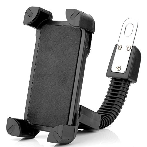 Cell Phone Cradle Mount for Motorcycle or Electric Bike Scootor with Rearview Mirror - iPhone Android Phone from 3.5' to 7' Stand Holder, 360° Rotation Anti Shake and Stable Clamp