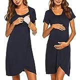 Umstandskleid Stillnachthemd Damen Kurzarm Umstandsnachthemd Lang Pyjama Nachtwäsche mit Knopfleiste für Schwangere Frauen Sommer