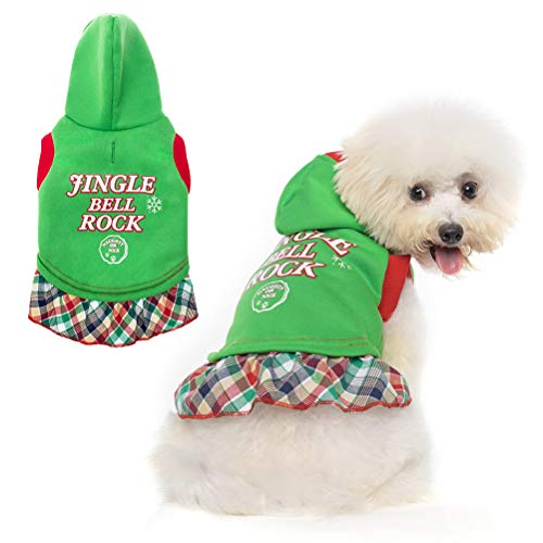 Christmas Dog Dress - Puppy Windproof Hoodie Pet Warm Coat Sweater for Small Medium Doggie Cat in Winter Fall