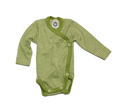 Cosilana Cosilana - Baby Wickel Body 1/1 Arm, 50/56, geringelt Grün-Natur, 70% Schurwolle kbT, 30% Seide