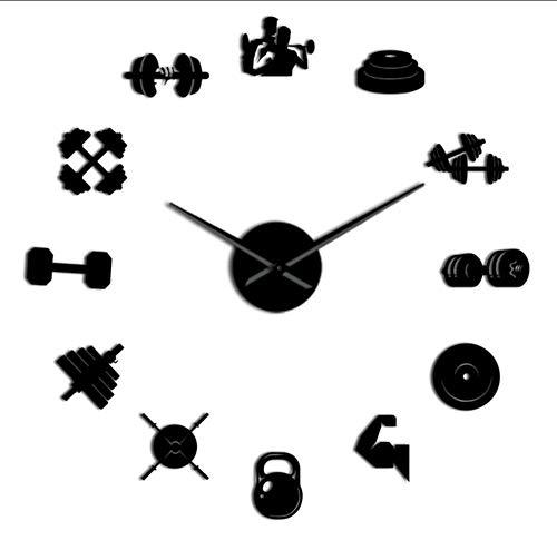 Culturista Deporte 3D DIY Reloj de Pared Culturismo Regalo para Amantes de la Aptitud Gimnasio acrílico Efecto Espejo decoración de Pared Reloj Reloj