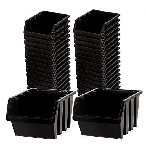 BigDean Sichtlagerboxen Set 36 Stück schwarz Größe 1 11,5x8x6 cm - nestbar & stapelbar - Ordnungssystem für Werkstatt, Keller & Garage