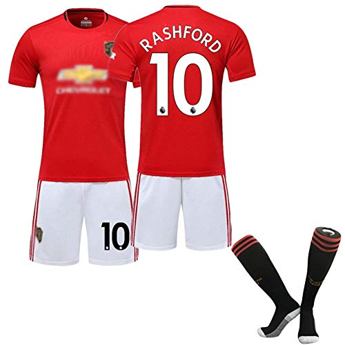 DDSC 19-20# 6 Pogba # 10 Rashford Trikot Fußball Club Uniform Outfit, Kurzarm Shorts Socken Trainingsanzug für Männer Kind 16-XXL-Top Hemd red(#10)-26