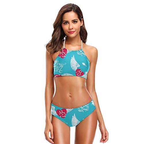 DXG1 Damen Bikini mit Schriftzug Flügelherz inspirierendes Zitat Süße Bikini-Sets Strand Bademode Badeanzug mit gepolstertem Badeanzug Gr. L, Farbe-1