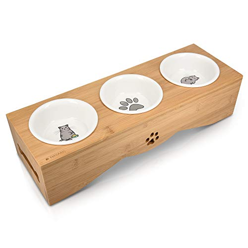 Navaris Cat Bowls with Stand - Elevated Triple Feeder for Cats - Ceramic Pet Bowl Dishes 3-Pcs Set with Printed Designs and Raised Bamboo Wood Holder