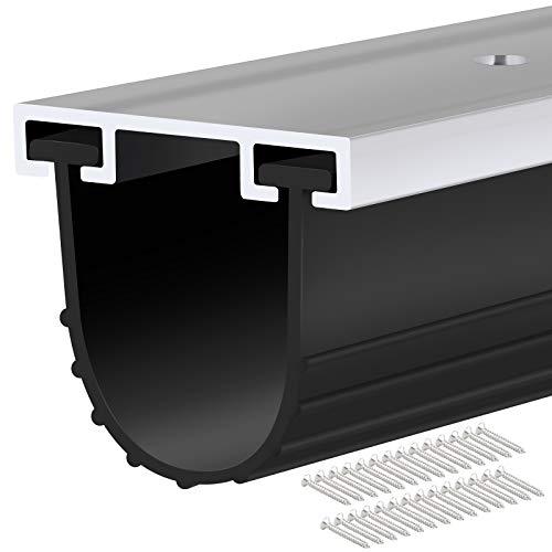 Garage Door Seals Bottom Rubber with Pre-drilled Aluminum Track Retainer Base Kit,Heavy-Duty U Shape Garage Door Weather Stripping Kit (16Ft)