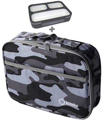 Camo Lunch-box For Boys Men with Bento-Box | Insulated Compact Bag | Bento Box and Bag Set, Lunch-Boxes Adults Teens or Kids | Modern Compact Bags for School Work Travel | Grey Black Camouflage Set …