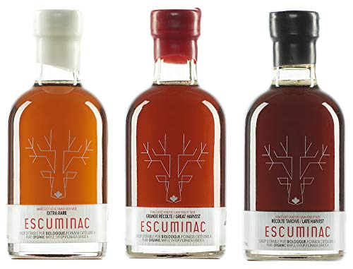 Escuminac Sirope De Arce Canadiense Paquete De Regalo - Extra Rare, Great Harvest, Late Harvest - Bosque único sin mezcla orgánico puro - 3 X 6.8 fl oz (200 ml)