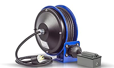 Coxreels Compact efficient heavy duty power cord reel with a single industrial receptacle