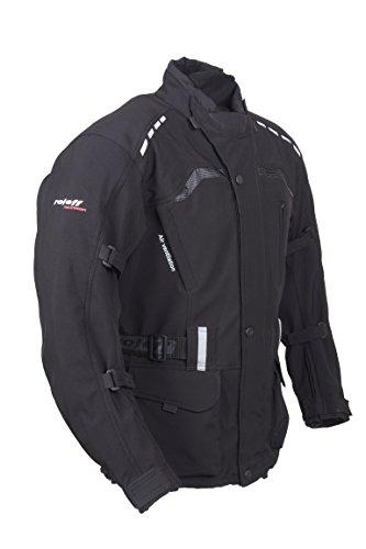 ROLEFF RACEWEAR Lange, schwarze Motorradjacke mit Softshell Material, Protektoren, Belüftungssystem, Klimamembrane und herausnehmbarem Thermofutter