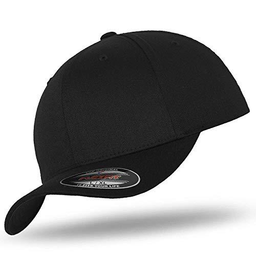 Flexfit Original Basecap Baseball Cap Kappe Wooly Combed black/black -XS/S