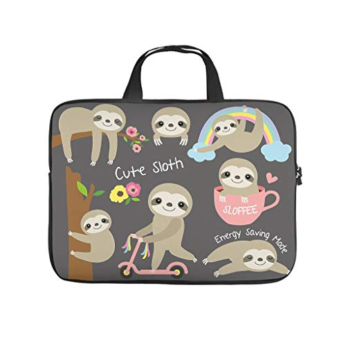 Baby Sloth Day Activities Laptop Bag Abrasion Resistant Waterproof High Capacity Hand Bag Business Briefbag for Work Study for Workers Students White 13 Zoll