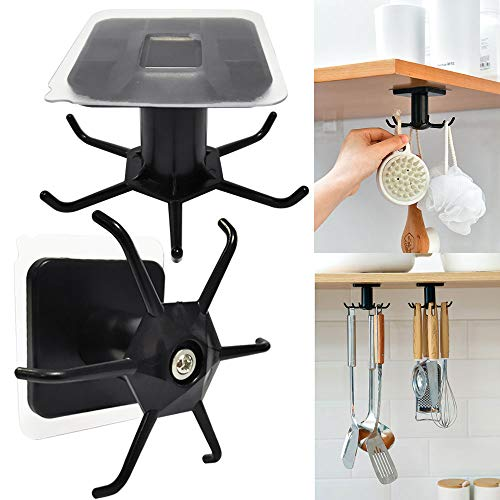 360° Rotating Under Shelf Hooks Mugs Cup Cooking Utensil Holder Hanging Rotate Rack Organizer Storage Rack for Cabinet Kitchen Bathroom Pack of 2