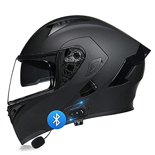 BDTOT Casco Modulare Bluetooth Integrato Omologato DOT/ECE Casco Moto Flip Up Doppia Visiera Aperta Anti-Appannamento Riduzione Rumorosa Traspirante Altoparlante Integrato con Microfono