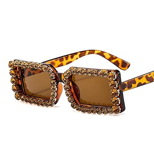 XINMAN Moda Gafas De Sol Cuadradas Pequeñas con Personalidad para Hombres Y Mujeres Gafas De Sol con Incrustaciones De Diamantes De Moda De Lujo Sombrilla Espejo Estampado De Leopardo