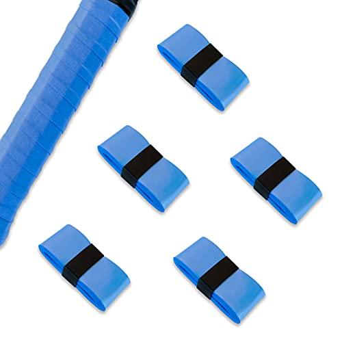 グリップテープ 5個/10個セット 10色 ウェット モイスト タイプ オーバーグリップ テニス バドミントン ゴルフ マイバチ ハンドル 他 (5個/ブルー)
