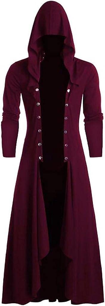 Men's Retro Steam Punk Cardigan Gothic Cloak Coat Fashion Plain Hoodie Frock Warlock Uniform Halloween Cosplay Outwear