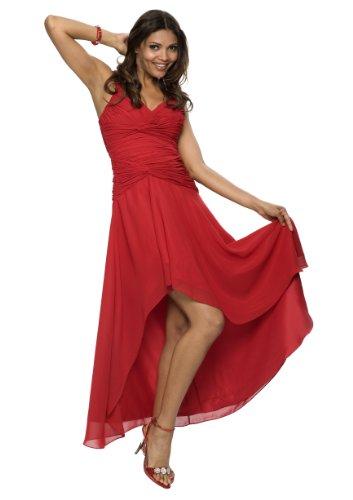 Astrapahl Damen Cocktail Kleid mit schönen Raffungen, Knielang, Einfarbig, Gr. 38, Rot