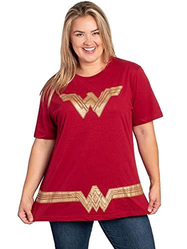 DC Comics Plus Size Womens T-Shirt Wonder Woman Logo Belt Costume (Dark Red, 1X)
