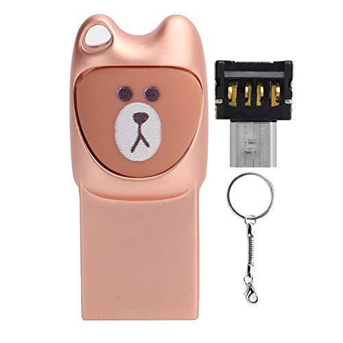 Hyuduo1 Disco USB 2.0 de Dibujos Animados en U, Unidad de Interfaz sin Plug-in, transmisión de Lectura de Datos portátil 2 en 1 con Anillo para Colgar el Dispositivo, Disco Flash, Dispositivo(32G)