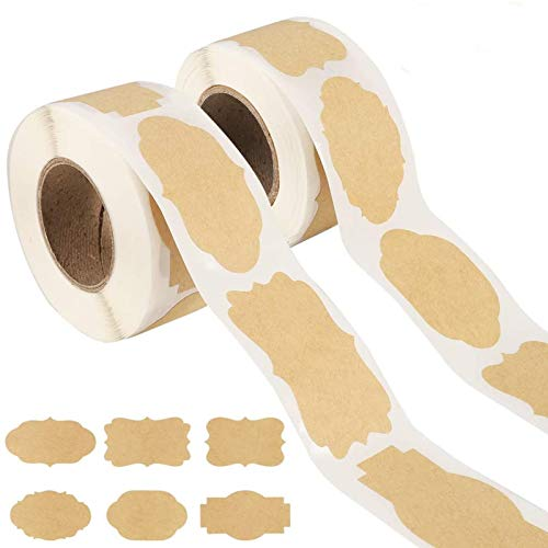 fanshiontide 2 Rollen 300 Stück Selbstklebende Aufkleber Papier Etiketten Aufkleber für kosmetische handgemachte Geschenke Dekoration Einmachgläser Lebensmittelgläser Handwerk (3 * 5 cm)
