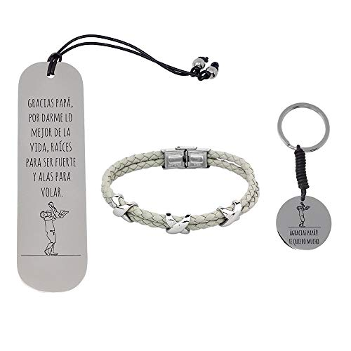 Pack Bookmarks Father Stainless Steel Bracelet Rhodium Plated Key Chain Collection Thanks Dad Soul