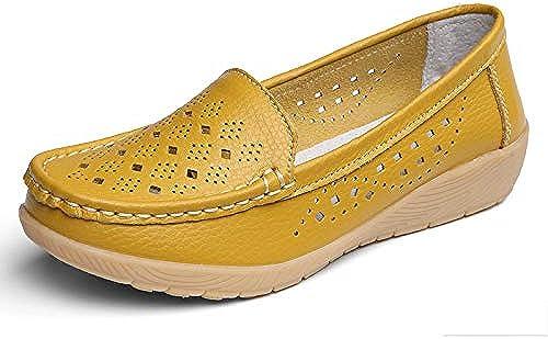 Chaussures Plates Femme,vintage Original Fermé Toe Ronde Occasionnels Confortables Creux Soft Cuir Naturel flaneuses En Caoutchouc Souple Chaussures Chaussures Bateau Chaussures Plates En Plein Air