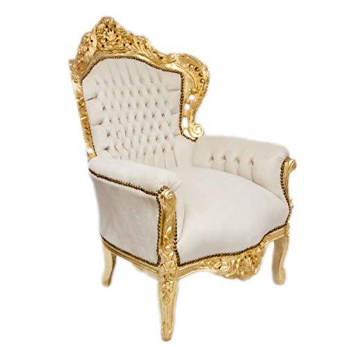 Casa Padrino Barock Sessel King Creme Samtstoff/Gold - Antik Stil Sessel