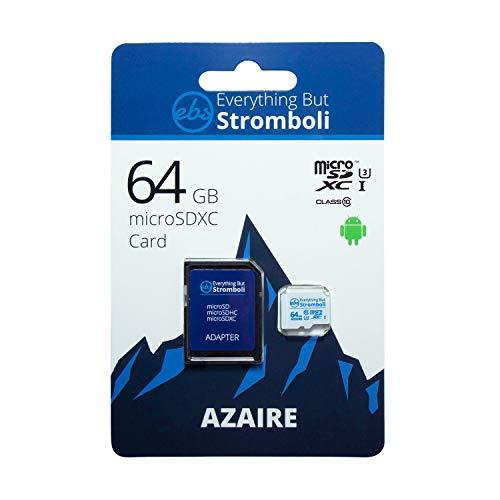Everything But Stromboli Cartão De Memória Azaire MicroSD De 64 GB Para Samsung Galaxy Tablet Funciona Com Tab A 8.0, Tab A 10.1, Tab S6 Classe 10 U3 UHS-1 Pacote Com Leitor De Cartão Micro SD