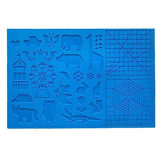 linjunddd Silikon-zeichenbrett 3D Pen Mat 3D Pen Stencils Buch 3D Stift Zeichenwerkzeuge Blau Nützliches