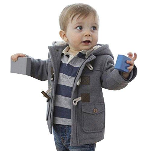 Mantel mit Kapuze für kinder Baby Jungen Horn-Tasten Lang Dufflecoat Winter Baumwolle Warm Outerwear Jacke Grau / 110