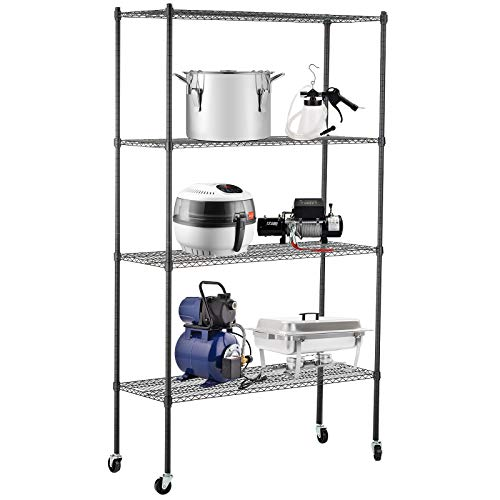 """SUNCOO 4 Tier 82""""H Strengthen Commercial Adjustable Stainless Steel Wire Shelves Unit with Stiffeners with Wheels Wire Shelves Storage Racks Kitchen Garage"""
