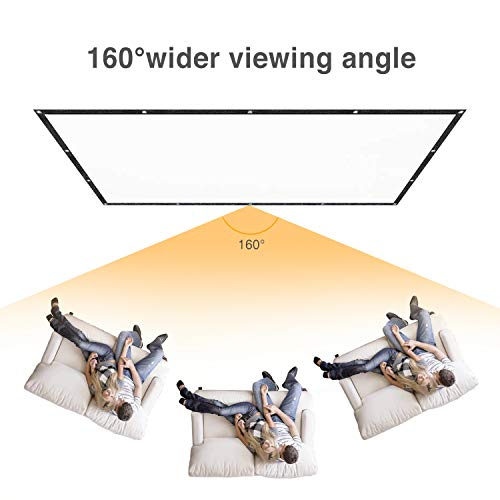 Projector Screen 84 inch Portable Indoor Outdoor Movie Screen 16:9 HD Anti-Crease, Support Double Sided Projection for Cinema Christmas Film Games Party Backyard With 16PCS adhesive hooks 12M Ropes and Bag