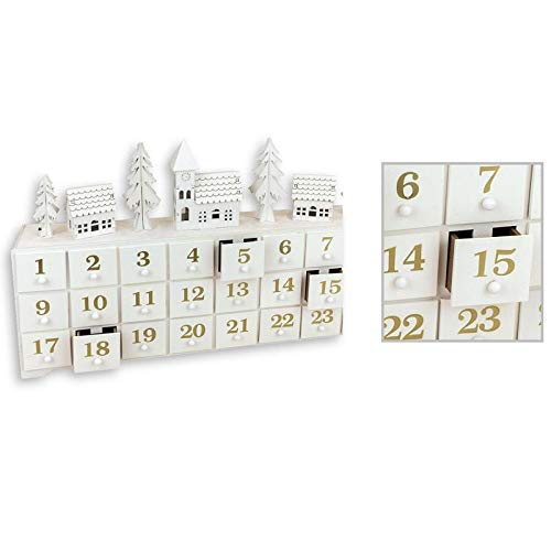 Die Home Fusion Company Schöne Holz LED Winter Szene Shabby Chic Adventskalender Weihnachten Dekoration Ornament