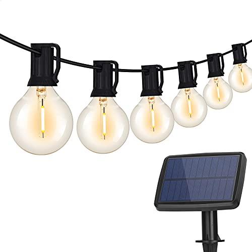 DeepDream Solar Garden Lights 25ft G40 Outdoor Lights with 12+1 LED Bulbs Waterproof Solar Fairy Lights 4 Modes Solar Powered String Lights for Garden, Patio, Yard, Party, BBQ, Wedding (Warmwhite)