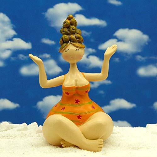 POMMERNTRAUM ®| Yogadame - Yogafigur - Dicke Dame Molly - Dicke Nana - Dicke Lady beim Yoga - Dicke Frau beim Yoga - Pilates (orange)