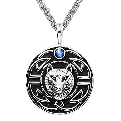 DFWY Men Stainless Steel Viking Fox Pendant Necklace,Nordic Mythology Celtic Knot Animal Totem Charm Amulet,Handmade Medieval Vintage Punk Hip Hop Jewelry (Color : Silver)