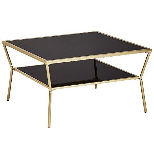 Wohnling Design Couchtisch Glas Schwarz 70 x 70 cm 2 Ebenen Gold Metallgestell | Wohnzimmertisch | Beistelltisch | Glastisch quadratisch