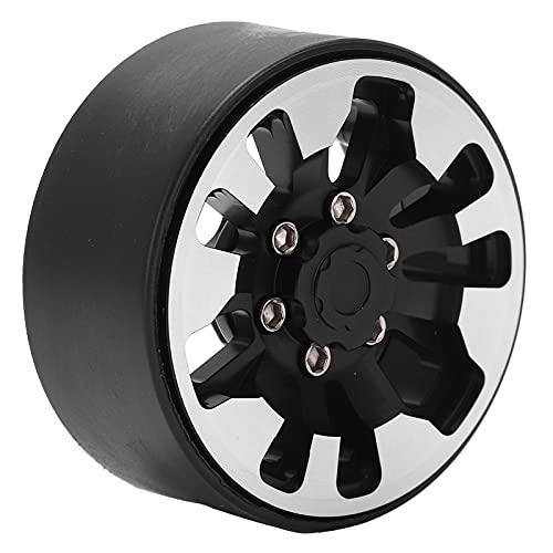RiToEasysports Llanta de Aluminio de 4 Piezas de 2,2 Pulgadas, Cubo de Llantas de Rueda Beadlock de 9 Agujeros con reemplazo de Tuercas para Coches de orugas RC axiales(Negro)