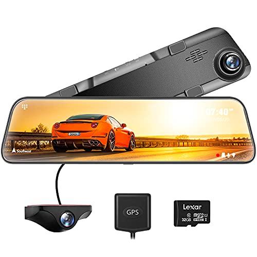 WOLFBOX Dash Cam Doppia Telecamera per Auto da 12 pollici Touchscreen Full HD 2.5K, Sensore Sony, Sensore G, Registrazione Loop, Visione Notturna, Monitor Parcheggio e Scheda SD 32GB