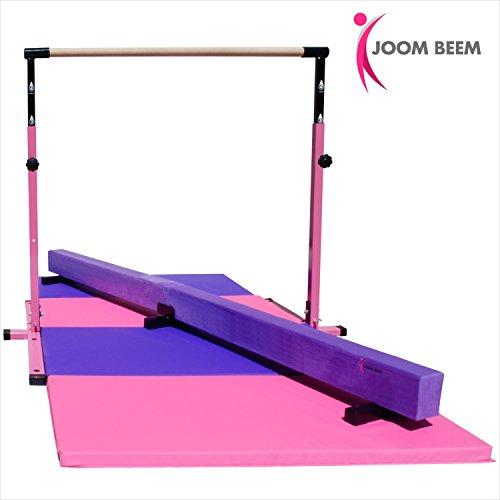 Pink Adjustable (3'-5') Horizontal Bar and 8ft Folding Mat Balance Beam Combo Gym Set