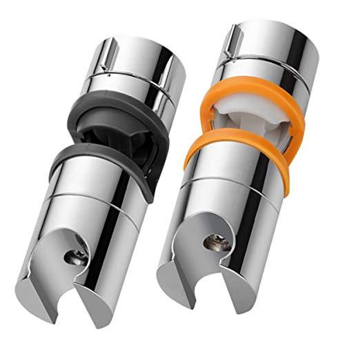 Xumier 2pcs universal handbrause halterung 2 verstellbar duschkopf-halterung handbrausehalter ohne bohren 360°drehbar brausehalter wandhalterung für slide bar 22-25 mm außen durchmesser duschkopf