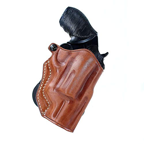 Leather Paddle Holster (OWB) Open Top Fits Taurus Judge Public Defender 410GA/45LC Poly Frame, 2' BBL Right Hand Draw Brown Color #1164#
