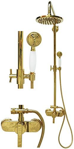 Retro Duschset Duschgarnitur Regendusche Set Brausegarnitur Einhebel Armatur Duschstange Mischbatterie Duschkopf Gold