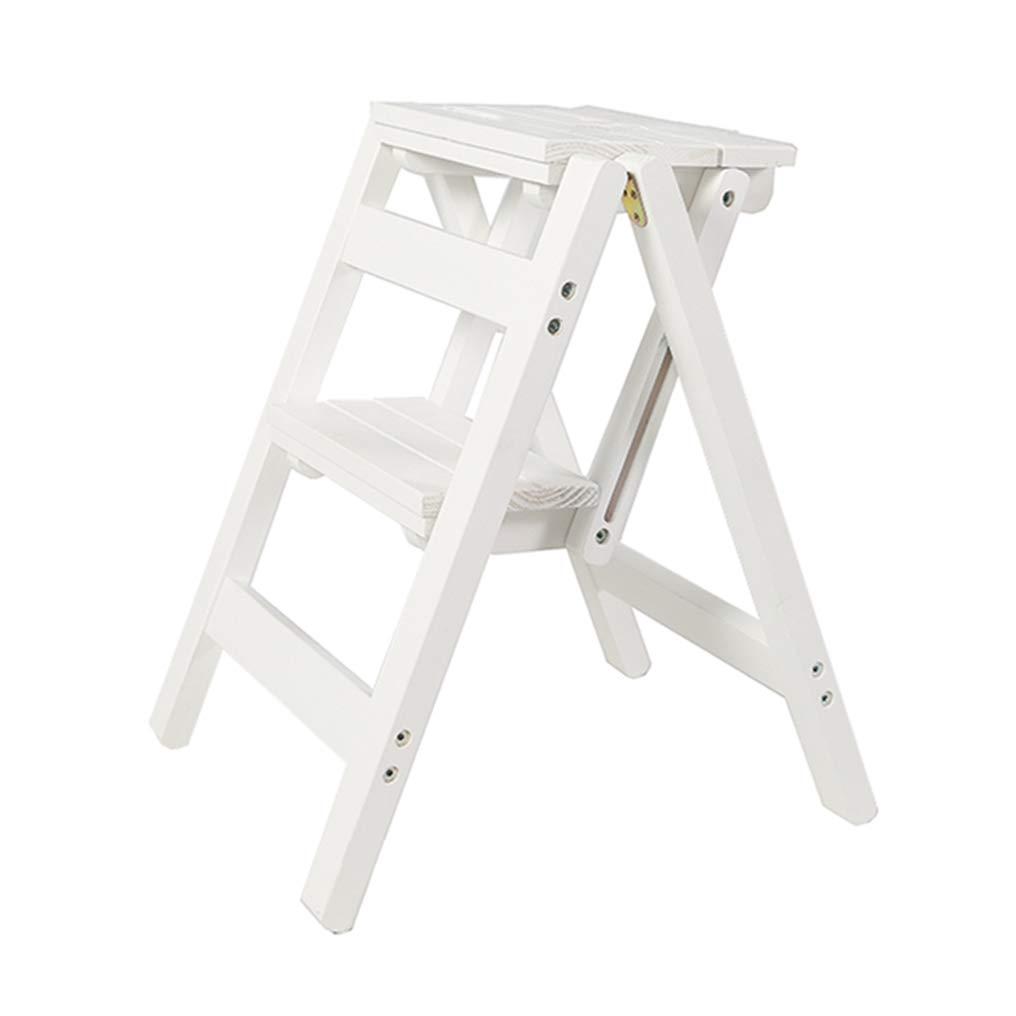 Escalera Plegable de 2 escalones, Escalera de hogar Silla de Comedor Escaleras de Tijera de Madera para niños y Adultos, Herramienta de jardín para el hogar Trabajo Pesado Máx. 200kg (3 Colores):
