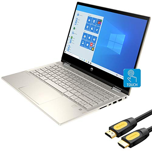"""2020 HP Pavilion x360 2 in 1 Touchscreen Laptop, 14"""" IPS FHD PC, 10th Gen Core i5 4-Core up to 3.60 GHz, 8GB RAM, 256GB SSD, USB-C, Backlit, FP Reader, Webcam, Wi-Fi 6, Mytrix HDMI 2.0 Cable, Win 10"""