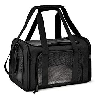 Henkelion Cat Carriers Dog Carrier Pet Carrier for Small Medium Cats Dogs Puppies up to 15 Lbs TSA Airline Approved Small Dog Carrier Soft Sided Collapsible Waterproof Travel Puppy Carrier - Black
