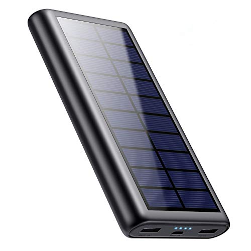 iPosible Solar Power Bank, 26800mAh Portable Charger [Upgraded Smart IC] Fast Charging External Battery Pack with 2 USB Outputs for Smart Phones Tablets and More